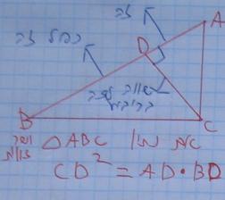 הגובה ליתר במשולש ישר זווית הוא ממוצע הנדסי של היטלי הניצבים על היתר