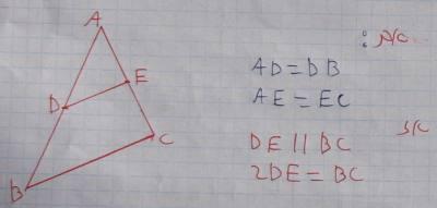 קטע אמצעים במשולש מקביל לצלע השלישית ושווה למחציתה.