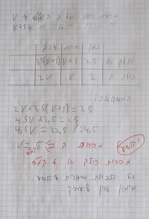 בעיות מילוליות 3 יחידות בעיות דרך  בגרות במתמטיקה 3 יחידות שאלון 803 בעיות מילוליות קייץ 2010