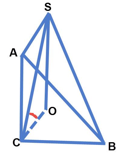הזווית שבין מקצוע הפאה SC לבין בסיס הפירמידה ABC היא SCO.