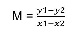 m= Y1-Y2:(X1-X2)).