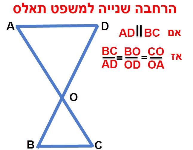 הרחבה שנייה למשפט תאלס אם DE ΙΙ BC אז מתקיימים השוויונות BC/AD = BO/OD = CO/OA.