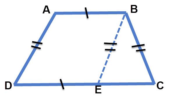 בטרפז שווה שוקיים העברת ישר מקביל לשוק הטרפז יוצרת מקבילית + משולש שווה שוקיים
