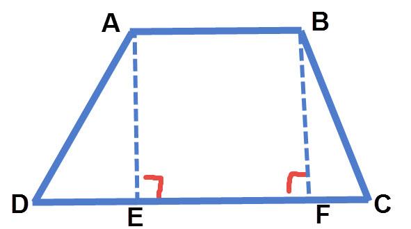 העברת שני גבהים בטרפז יוצרת מלבן