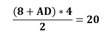 ((8+AD)*4)/2=20