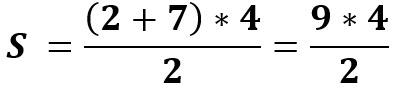 הצבת המספרים בנוסחת שטח טרפז