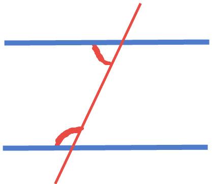 הזוויות האדומות הן זוויות שסכומן 180 מעלות. ולא זוויות שוות.