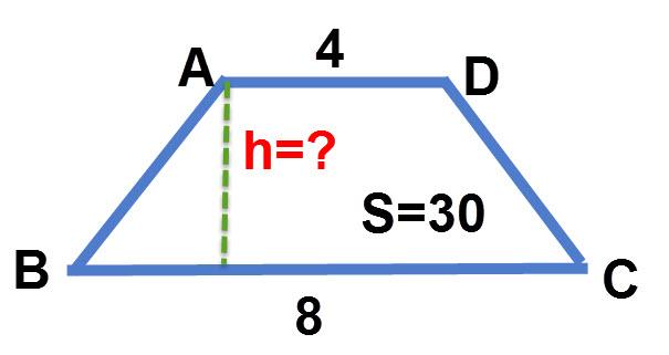 """נתון טרפז שאורך הבסיס הגדול שלו הוא 8 ס""""מ, אורך הבסיס הקטן 4 ס""""מ ושטחו הוא 30 סמ""""ר. מצא את גובה הטרפז."""