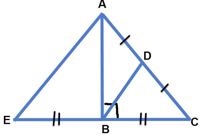 בניית עזר: נכפיל את אורכה של צלע CB כך ש BE=BC. כמו כן נשלים את משולש ΔAEC.