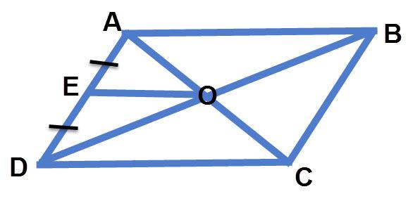אם ABCD מקבילית ו AE=DE. אז OE הוא קטע אמצעים במשולש OCD.