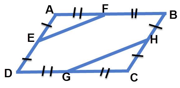 המרובע ABCD הוא מקבילית. הנקודות E,F,G,H הן אמצעי הצלעות כמתואר בשרטוט. הוכיחו כי EF שווה ומקביל ל GH.
