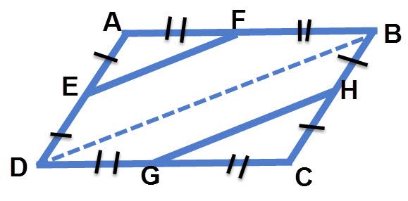 נעביר את האלכסון BD. הישר EF הוא קטע אמצעים במשולש ABD. והישר GH הוא קטע אמצעים במשולש BCD. EF = GH כי שניהם שווים למחצית BD. EF מקביל ל GH כי שניהם מקבילים ל BD.