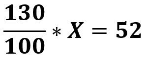 1.3x = 52 / :1.3
