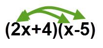 מכפילים את 2x ב x וב 5-. ולאחר מיכן את 4 בx וב 5-.
