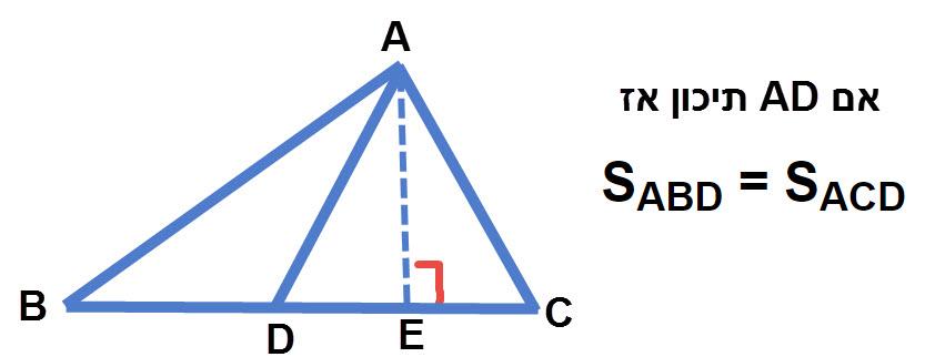 תיכון מחלק משולש לשני משולשים שווי שטח