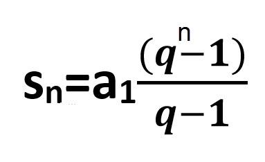 הנוסחה לחישוב n איברים בסדרה הנדסית sn = a1(qn-1) / q-1