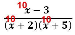 ערך השבר עבור x = 10 הוא חיובי