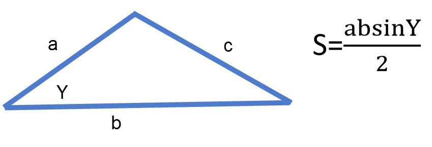 שטח משולש שווה למכפלת הצלעות כפול סינוס הזווית בניהן.