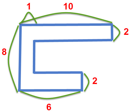 חישוב שטח של צורה מורכבת, שרטוט התרגיל