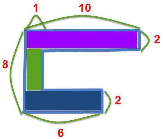 חישוב שטח של צורה מורכבת פתרון