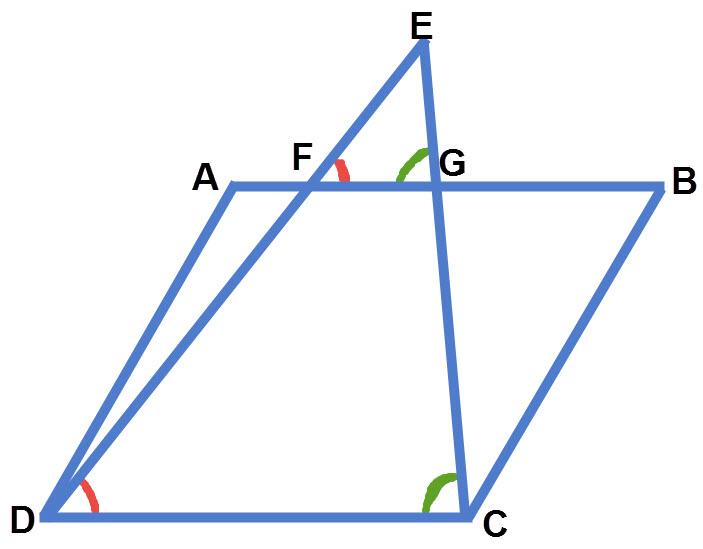 שני ישרים היוצאים מצלע המעוין ונפגשים בנקודה מחוץ למעוין יוצרים משולשים דומים
