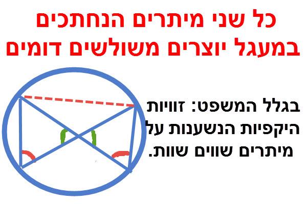 שני מיתרים הנחתכים במעגל יוצרים משולשים דומים.