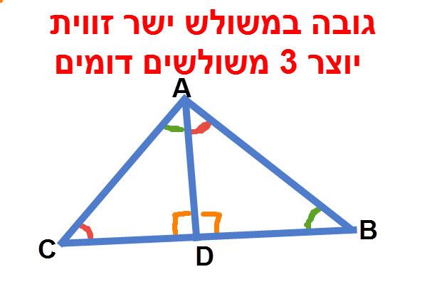גובה במשולש ישר זווית יוצר 3 משולשים דומים.