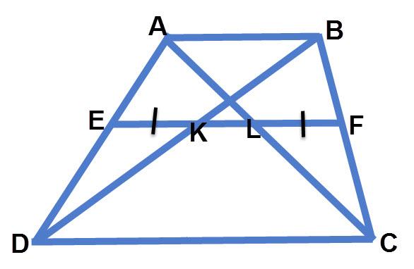 אם EF קטע אמצעים בטרפז אז EK=FL