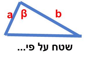 שטח משולש על פי שתי צלעות והזווית שביניהן