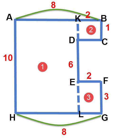 שטח של צורה מורכבת