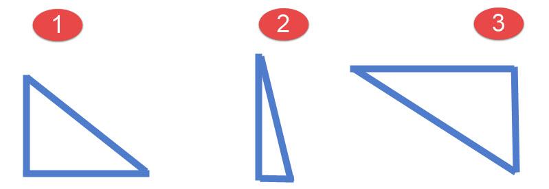 דוגמאות למשולש ישר זווית