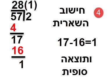 57:2=28 ועוד שארית 1