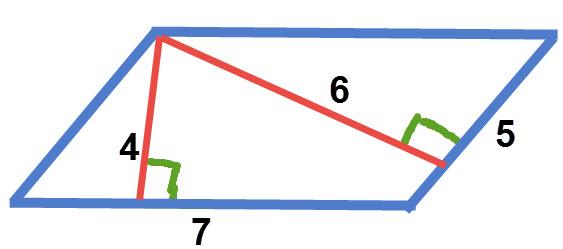 """מקבילית שבה צלע אחת של 5 ס""""מ וגובה אליה 6 ס""""מ. צלע שנייה של 7 ס""""מ וגודה אליה 4 ס""""מ"""