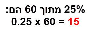 סיכום התרגיל: 25% מתוך 60 הם 15