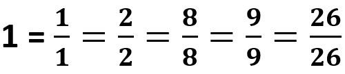 דוגמאות למספר 1 כשבר