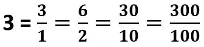 דוגמאות למספר 3 כשבר
