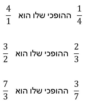 ההופכי של 1/4 הוא 4/1. ההופכי של 2/3 הוא 3/2. ההפוכי של 3/7 הוא 7/3