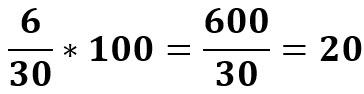 6 מתוך 30 הם 6/30 = 20%