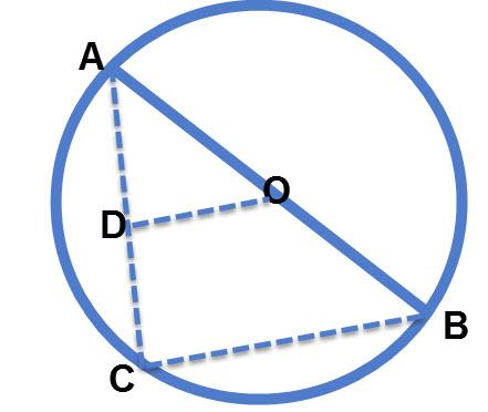 מרכז מעגל היוצר קטע אמצעים במשולש