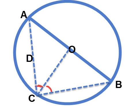 חוצה זווית למרכז המעגל יוצר משולש שווה שוקיים
