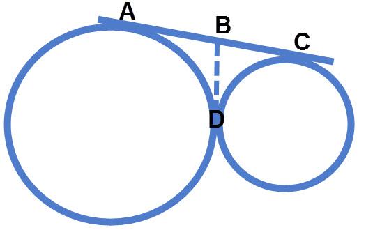 שני מעגלים משיקים דורשים ישר המשיק לשניהם על מנת להתקדם בשאלה. אם אין אחד כזה אז זו בניית עזר שאתם צריכים לבנות.