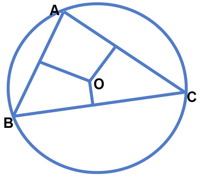 במשולש, שלושת האנכים האמצעיים נחתכים בנקודה אחת, שהיא מרכז המעגל החוסם את המשולש.