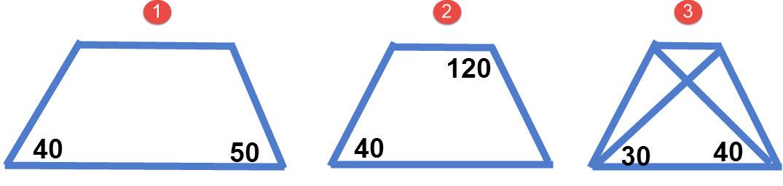 1. האם טרפז שזוויות הבסיס אינן שוות זו לזו יכול להיות טרפז שווה שוקיים. 2. האם טרפז שבו זוויות נגדיות אינם משלימות ל 180 מעלות יכול להיות טרפז שווה שוקיים? 3. האם טרפז שבו האלכסונים יוצרים עם אותו בסיס זוויות שאינן שוות יכול להיות טרפז שווה שוקיים?