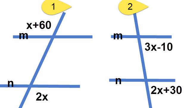 חישוב זוויות בעזרת תכונות קווים מקבילים