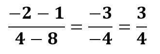 (-2-1)/(4-8)=(-3)/(-4)=3/4