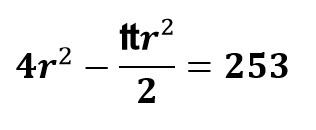 4r^2-₶r²/2=253
