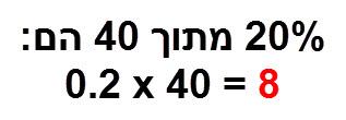 20% מתוך 40 הם 0.2*40 = 8