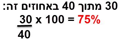 30 מתוך 40 באחוזים זה (30/40) * 100 = 75%