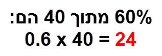 60% מתוך 40 הם 0.6*40 = 24
