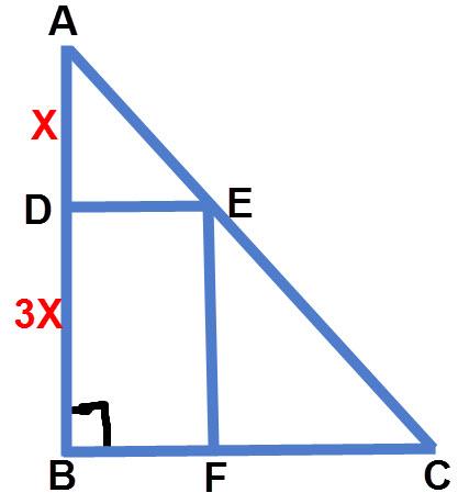 שרטוט התרגיל, חישוב שטח משולש בעזרת דמיון משולשים